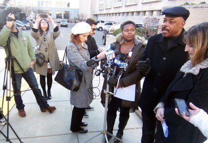 Photo: Bill Hangley, Jr. Jerry Jordan (second from right), head of the Philadelphia Federation of Teachers, calls for additional school funding and a halt to school closures outside of Philadelphia School District headquarters. He is flanked by PCAPS members Quanisha Smith of Action United (left), and Anne Gemmel of Fight for Philly (right).