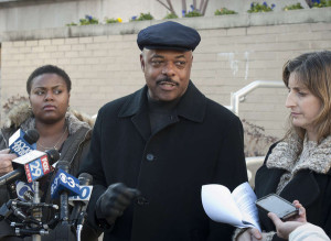 Teachers union leader Jerry Jordan with Quanisha Smith (left) of Action Now and Anne Gemmell of PCAPS after Hite unveiled his plan. (RON TARVER / Staff Photographer)
